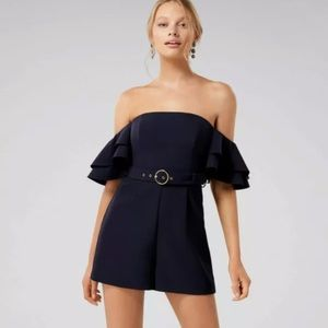FOREVER NEW Ruffle Sleeve Navy Playsuit Size 12
